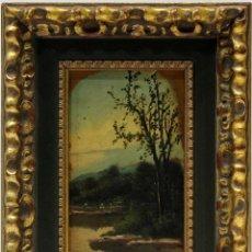 Arte: PAISAJE - A. JARDINZA - OLEO SOBRE TABLA - 21X12 CM. Lote 155551545