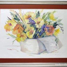 Arte: FLORES - CARMEN SCHAMANN - ACRÍLICO SOBRE CARTULINA - 114X90 CM. Lote 155551553