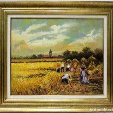 Arte: COSECHADORES - AMADOR - OLEO SOBRE LIENZO - 75X66 CM. Lote 155551561