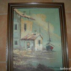 Arte: PINTURA AL OLEO FIRMADA ESCENA MARINA.. Lote 155560998