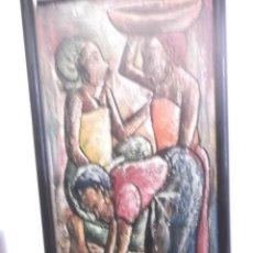 Arte: ANTIGUO CUADRO PINTURA ÓLEO MODERNO , TEMA MUJERES DE AFRICA . ORIGINAL Y FIRMADO . Lote 155566390