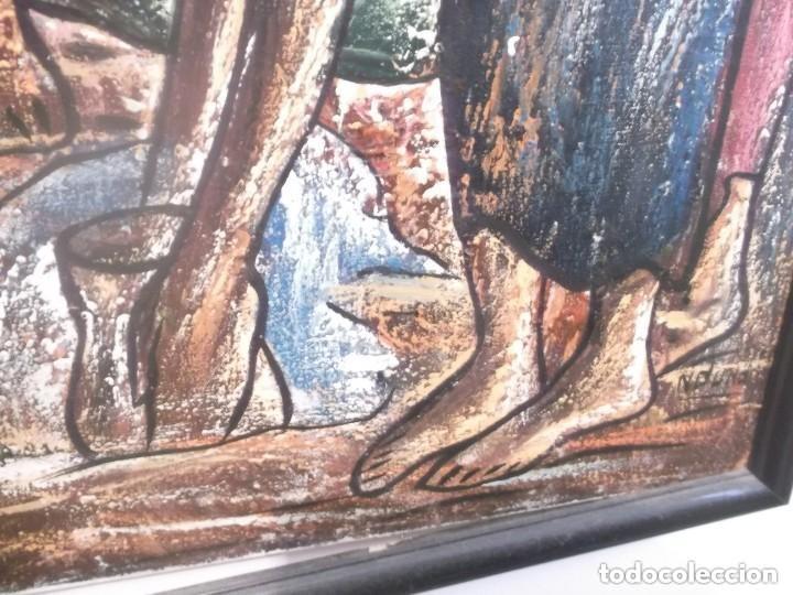 Arte: Antiguo cuadro pintura óleo moderno , tema mujeres de africa . original y firmado - Foto 5 - 155566390