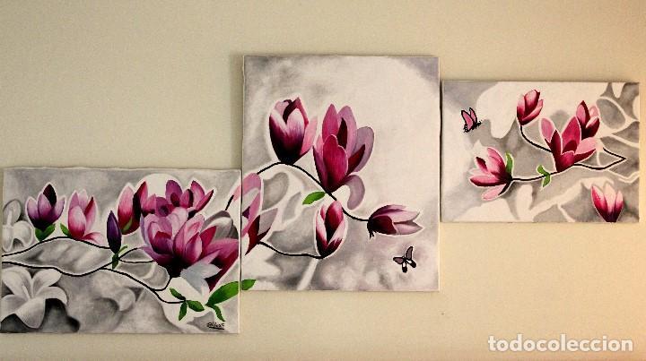 Arte: Triptico de flores obra de Gilaberte - Foto 2 - 155580218