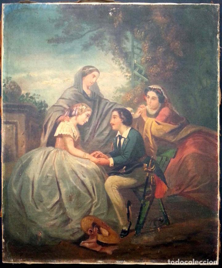 ESCENA GALANTE S. XIX - ÓLEO LIENZO (Arte - Pintura - Pintura al Óleo Moderna siglo XIX)