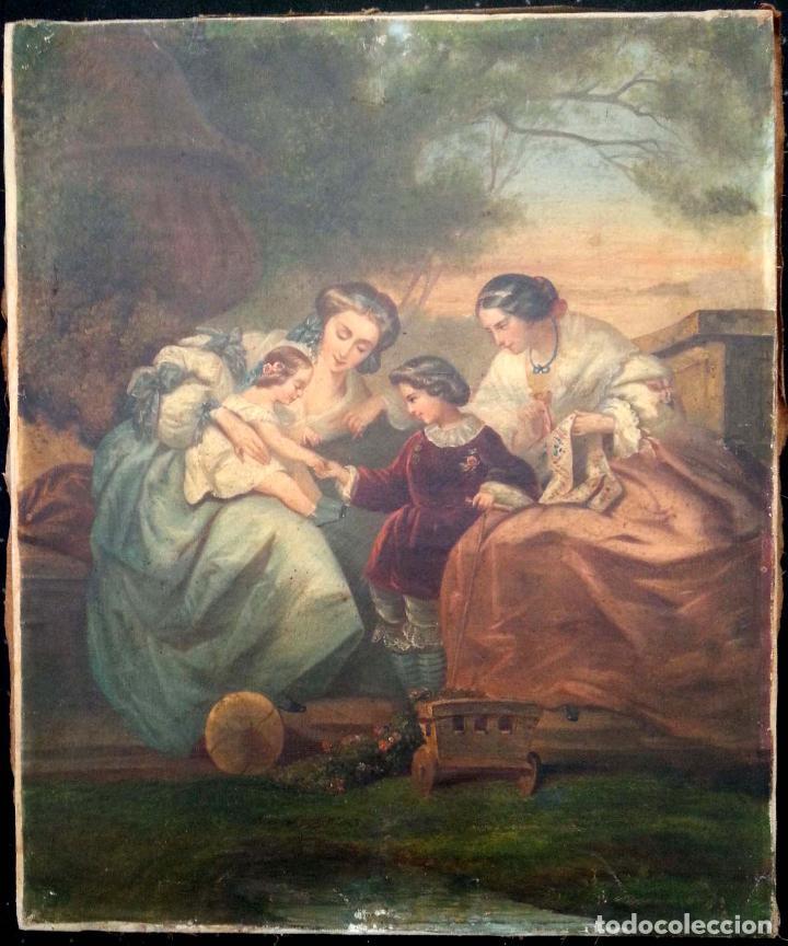 ESCENA INFANTIL. S. XIX. ÓLEO LIENZO (Arte - Pintura - Pintura al Óleo Moderna siglo XIX)
