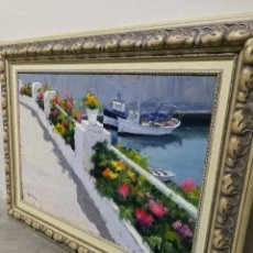 Arte: PRECIOSO ÓLEO RAFAEL ROMEU IVERN (CALAFELL)- MUSEU D'ART MODERN TARRAGONA-TERRASSA DEL PORT,105X78CM. Lote 155694770