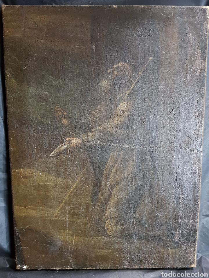 SANTO PIDIENDO CURACIÓN ANONIMO (Arte - Pintura - Pintura al Óleo Antigua siglo XVII)