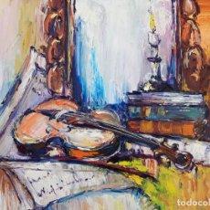 Arte: CUADRO AL OLEO SOBRE LIENZO ,,CERCA DEL ESPEJO,,. Lote 155777030