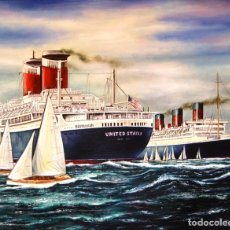 Arte: ÓLEO SOBRE LIENZO, RICARDO QUIROGA - BARCELONA 1.959 SS UNITED STATES. Lote 155786386