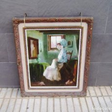 Arte: PINTURA AL OLEO DE JUAN RAMON CEBRIAN CON APLIQUE DE LUZ INCORPORADO.. Lote 155800238