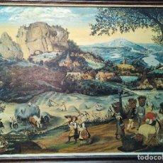 "Arte: PIETER BRUEGHEL EL VIEJO (1565) ""LA SIEGA DEL HENO"" REPRODUCCION SIGLO XIX OLEO SOBRE LIENZO. Lote 155814910"