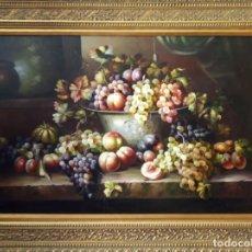 Arte: IMPONENTE OLEO BODEGÓN DE RACIMOS DE UVAS - PRECIOSO MARCO - GRAN CALIDAD Y BELLEZA -. Lote 155856382