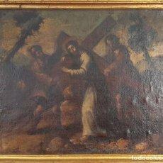 Arte: CRISTO CARGANDO LA CRUZ. ÓLEO SOBRE LIENZO. SIN FIRMAR. SIGLO XVIII-XIX. . Lote 155888358