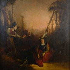 Arte: ÓLEO SOBRE LIENZO PAISAJE CAMPO CON PERSONAJES ESCUELA FRANCESA SIGLO XIX. Lote 155889946