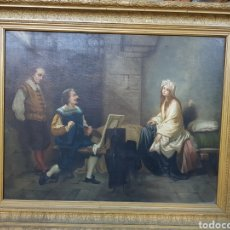 Arte: CUADRO AL OLEO SOBRE TELA. 1875. ESCENA PARECE VELÁZQUEZ PINTANDO A UNA DAMA. 65 X 51 SIN MARCO.. Lote 155891954