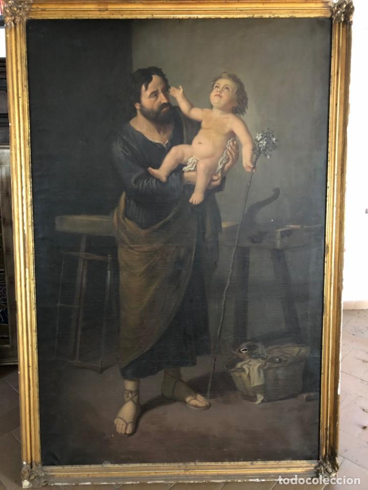ÓLEO SAN JOSÉ CON NIÑO S.XVIII (Arte - Pintura - Pintura al Óleo Antigua siglo XVIII)
