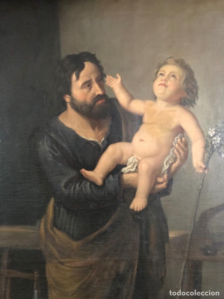 Arte: Óleo San José con niño S.XVIII - Foto 2 - 155910854