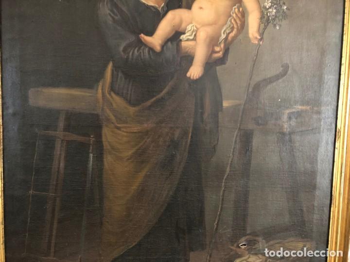 Arte: Óleo San José con niño S.XVIII - Foto 5 - 155910854