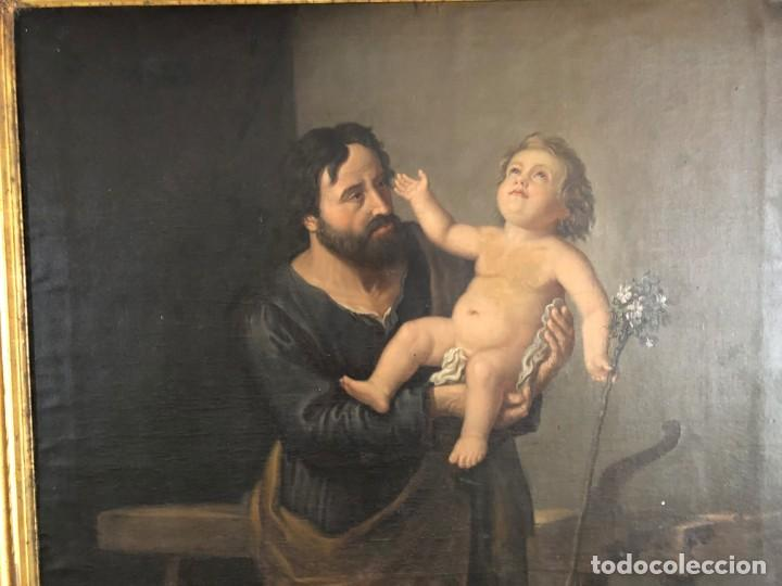 Arte: Óleo San José con niño S.XVIII - Foto 6 - 155910854