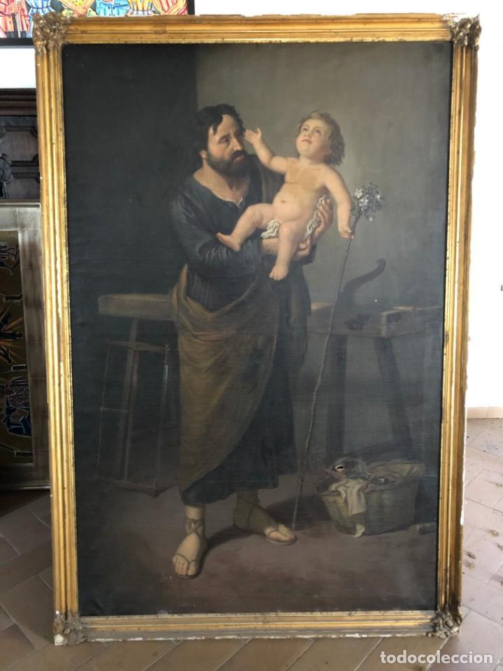Arte: Óleo San José con niño S.XVIII - Foto 10 - 155910854