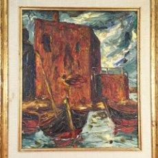 Arte: EMBARCADERO. ÓLEO SOBRE TABLA. FIRMA ILEGIBLE. 1958. . Lote 155914934