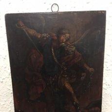 Arte: ÓLEO SOBRE TABLA FINALES DEL SIGLO XVIII DEL ARCÁNGEL SANT MIGUEL. Lote 155930270