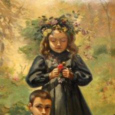 Arte: MAGI VALLVE GELABERT (SANT MARTÍ DE PROVENÇALS, XIX-XX) OLEO TELA Y ADHERIDO A TABLA. PAREJA D NIÑOS. Lote 155935894