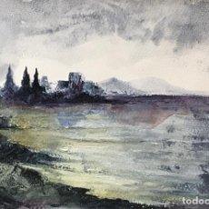 Arte: PLAYA EN EL RINCON DE LA VICTORIA. ACRILICO SOBRE PAPEL. 34 CM X 24 CM. Lote 147527814