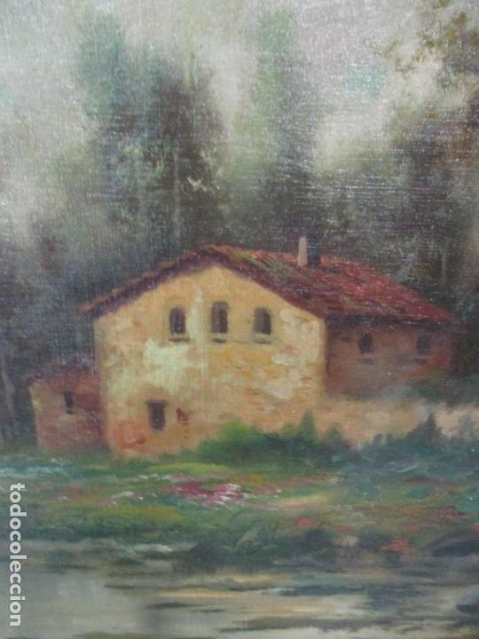 Arte: Antigua Pintura - Óleo sobre Tela - Paisaje - Escuela Catalana - Principios S. XX - Foto 3 - 155954802