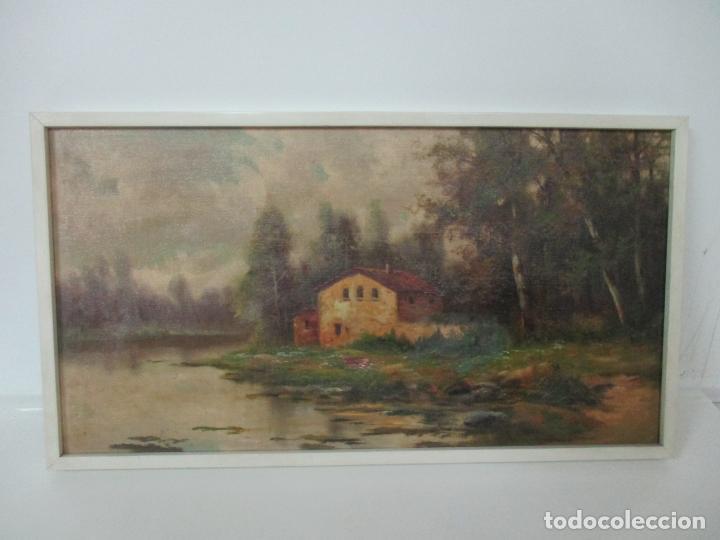 Arte: Antigua Pintura - Óleo sobre Tela - Paisaje - Escuela Catalana - Principios S. XX - Foto 6 - 155954802