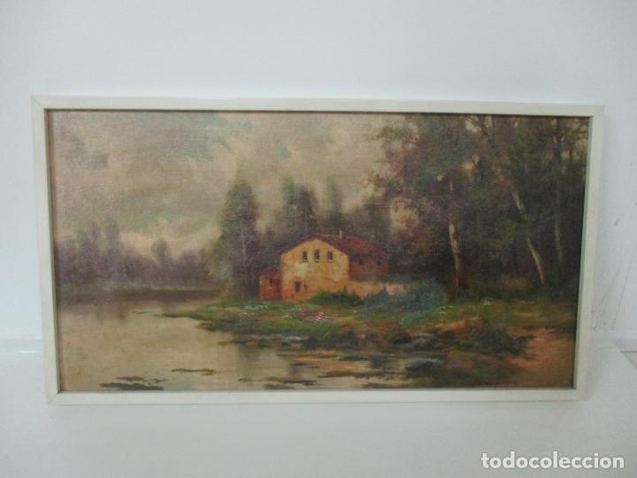Arte: Antigua Pintura - Óleo sobre Tela - Paisaje - Escuela Catalana - Principios S. XX - Foto 11 - 155954802