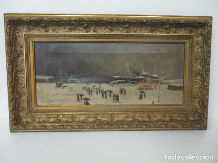 ANTIGUA PINTURA IMPRESIONISTA - ÓLEO SOBRE TELA -PAISAJE DEL PUERTO, CON NIEVE -BONITO MARCO -S. XIX (Arte - Pintura - Pintura al Óleo Moderna siglo XIX)