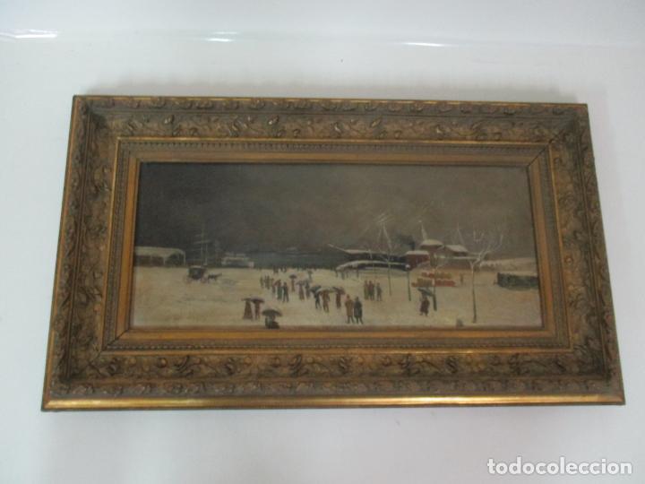 Arte: Antigua Pintura Impresionista - Óleo sobre Tela -Paisaje del Puerto, con Nieve -Bonito Marco -S. XIX - Foto 2 - 155956658
