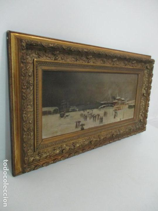 Arte: Antigua Pintura Impresionista - Óleo sobre Tela -Paisaje del Puerto, con Nieve -Bonito Marco -S. XIX - Foto 3 - 155956658