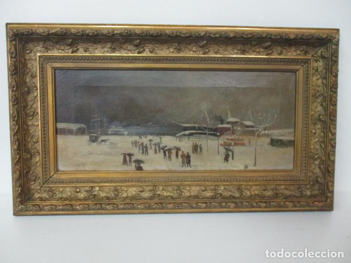 Arte: Antigua Pintura Impresionista - Óleo sobre Tela -Paisaje del Puerto, con Nieve -Bonito Marco -S. XIX - Foto 4 - 155956658