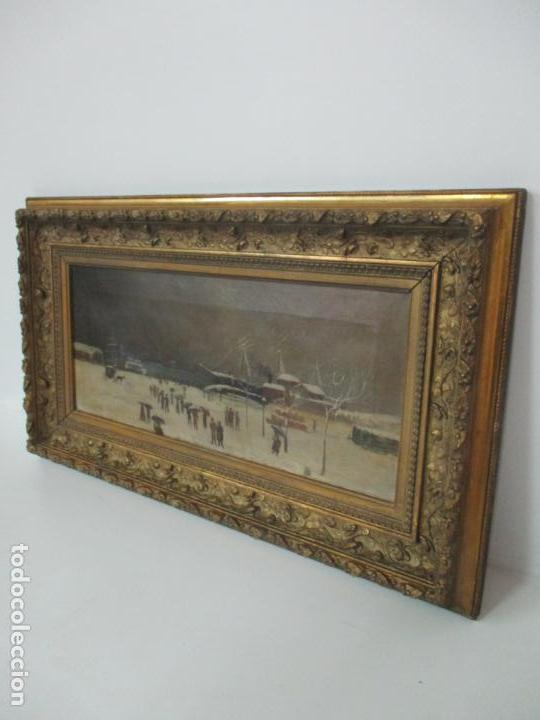 Arte: Antigua Pintura Impresionista - Óleo sobre Tela -Paisaje del Puerto, con Nieve -Bonito Marco -S. XIX - Foto 5 - 155956658