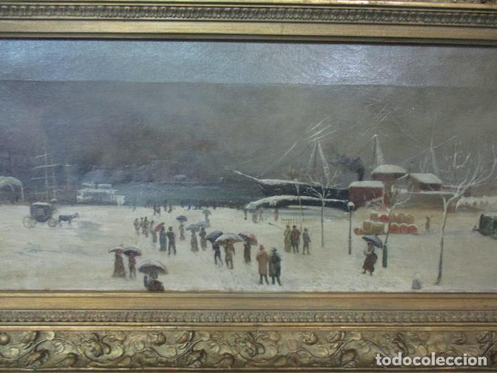 Arte: Antigua Pintura Impresionista - Óleo sobre Tela -Paisaje del Puerto, con Nieve -Bonito Marco -S. XIX - Foto 6 - 155956658