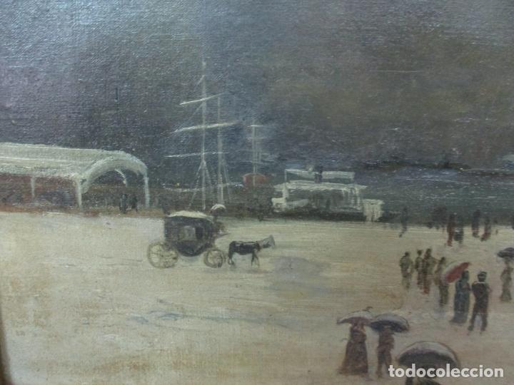 Arte: Antigua Pintura Impresionista - Óleo sobre Tela -Paisaje del Puerto, con Nieve -Bonito Marco -S. XIX - Foto 7 - 155956658