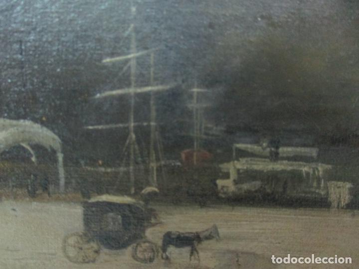 Arte: Antigua Pintura Impresionista - Óleo sobre Tela -Paisaje del Puerto, con Nieve -Bonito Marco -S. XIX - Foto 8 - 155956658