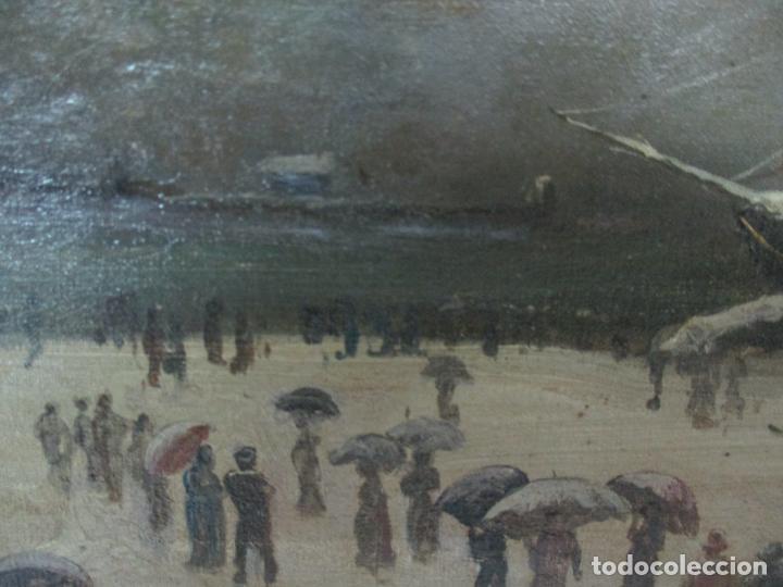 Arte: Antigua Pintura Impresionista - Óleo sobre Tela -Paisaje del Puerto, con Nieve -Bonito Marco -S. XIX - Foto 9 - 155956658
