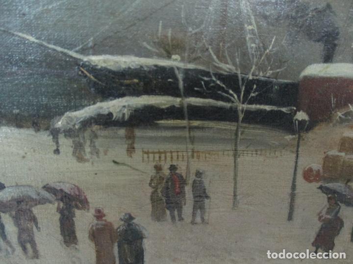 Arte: Antigua Pintura Impresionista - Óleo sobre Tela -Paisaje del Puerto, con Nieve -Bonito Marco -S. XIX - Foto 10 - 155956658
