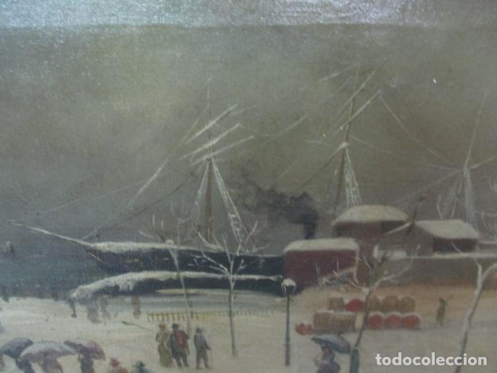 Arte: Antigua Pintura Impresionista - Óleo sobre Tela -Paisaje del Puerto, con Nieve -Bonito Marco -S. XIX - Foto 11 - 155956658