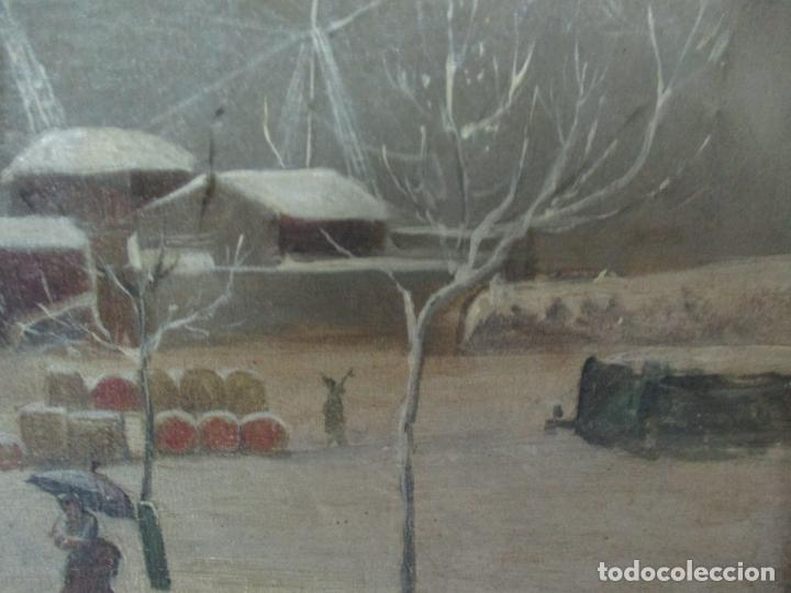 Arte: Antigua Pintura Impresionista - Óleo sobre Tela -Paisaje del Puerto, con Nieve -Bonito Marco -S. XIX - Foto 12 - 155956658