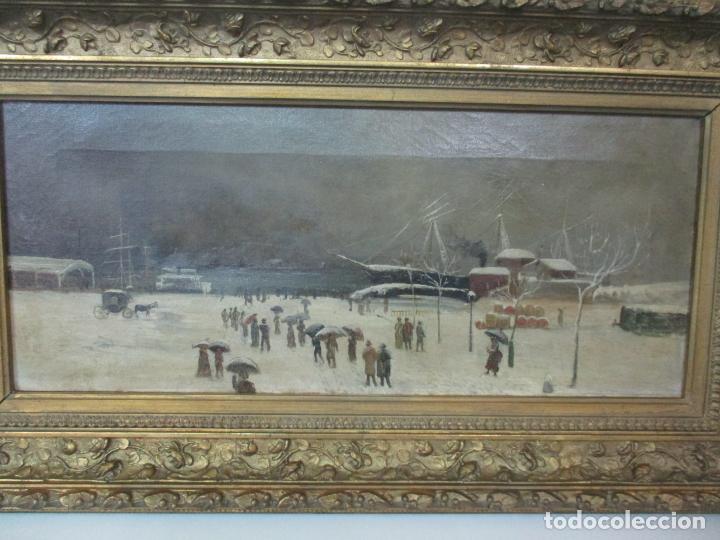 Arte: Antigua Pintura Impresionista - Óleo sobre Tela -Paisaje del Puerto, con Nieve -Bonito Marco -S. XIX - Foto 13 - 155956658