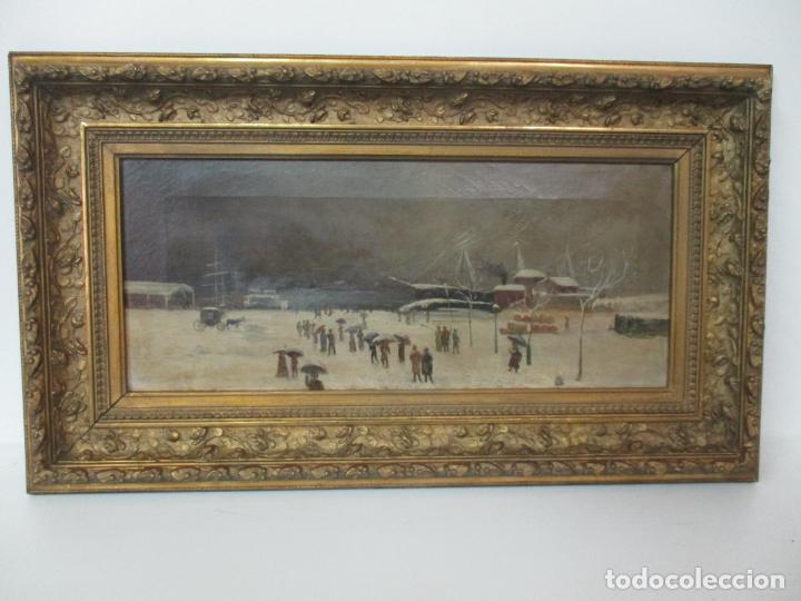 Arte: Antigua Pintura Impresionista - Óleo sobre Tela -Paisaje del Puerto, con Nieve -Bonito Marco -S. XIX - Foto 16 - 155956658