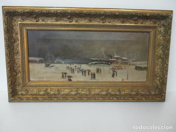 Arte: Antigua Pintura Impresionista - Óleo sobre Tela -Paisaje del Puerto, con Nieve -Bonito Marco -S. XIX - Foto 21 - 155956658