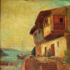 Arte: CASAS DE PESCADORES. ÓLEO SOBRE LIENZO. FIRMA DESCONOCIDA. FRANCIA(?). SIGLO XIX. Lote 156091106