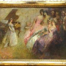 Arte: IMPRESIONANTE OLEO GRAN TAMAÑO EL CONCIERTO PRIVADO DE JUAN PABLO SALINAS Y TERUEL (1871-1946) . Lote 156388062