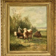 Arte: IMPRESIONANTE OLEO PASTANDO DE ANDRES CORTÉS (1810-1879) (76 X 67 CM) GRAN COTIZACIÓN. Lote 156399958