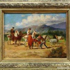 Arte: IMPRESIONANTE OLEO BALDOMERO GALOFRE Y GIMENEZ 1849-1902 CAMPAMENTO GITANO. Lote 156429662